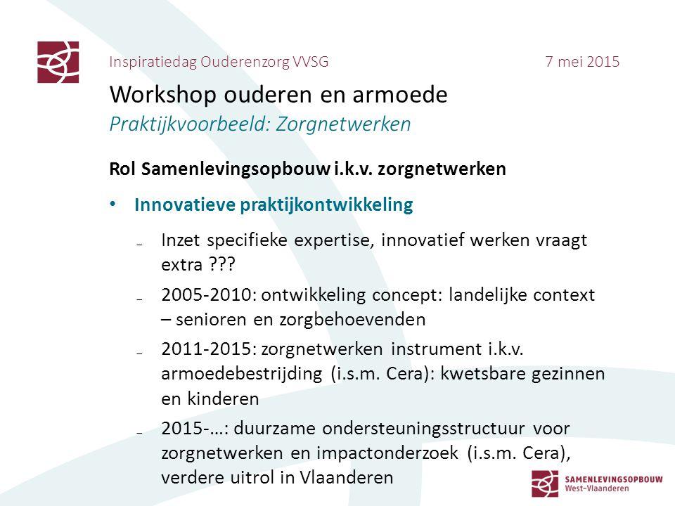 Inspiratiedag Ouderenzorg VVSG 7 mei 2015 Workshop ouderen en armoede Praktijkvoorbeeld: Zorgnetwerken Rol Samenlevingsopbouw i.k.v. zorgnetwerken Inn