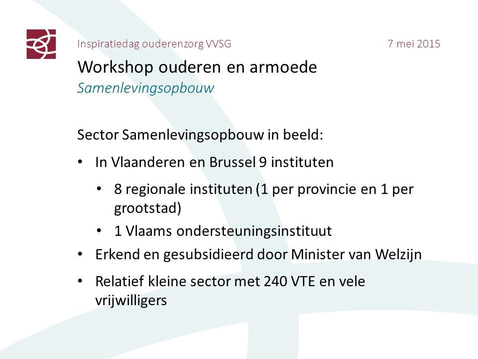 Inspiratiedag ouderenzorg VVSG 7 mei 2015 Workshop ouderen en armoede Samenlevingsopbouw Sector Samenlevingsopbouw in beeld: In Vlaanderen en Brussel