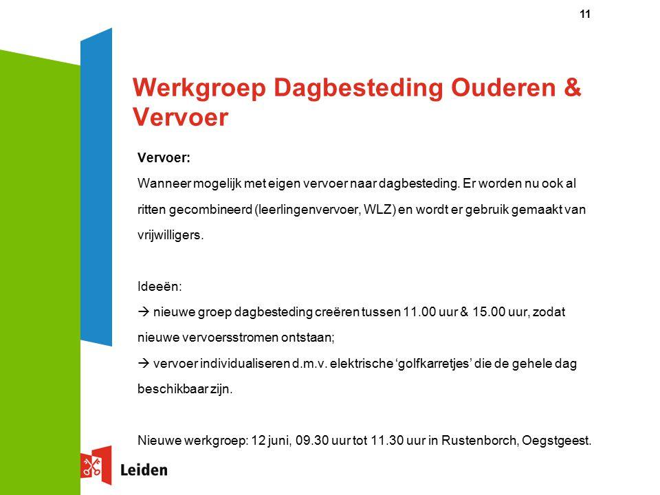 Werkgroep Dagbesteding Ouderen & Vervoer Vervoer: Wanneer mogelijk met eigen vervoer naar dagbesteding.