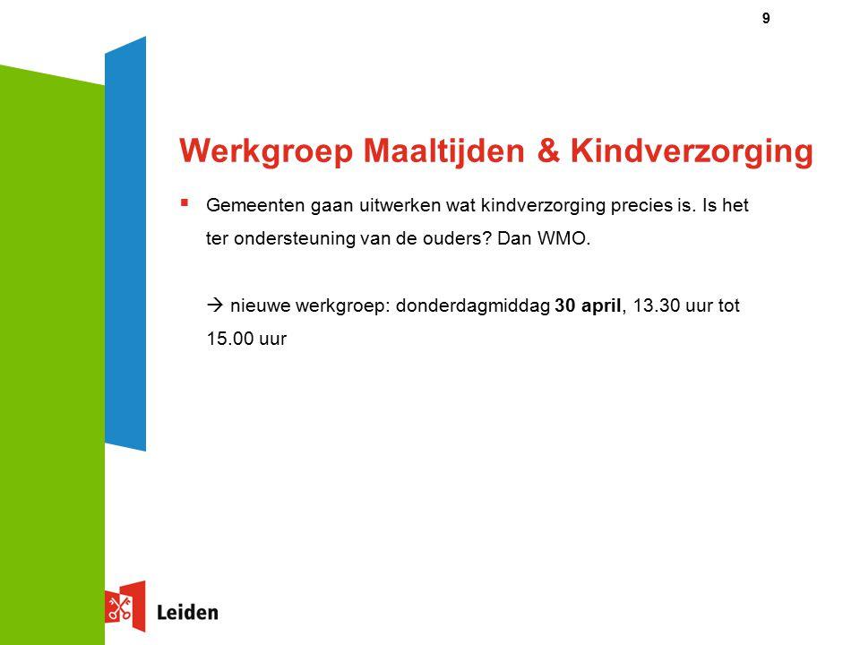 Werkgroep Maaltijden & Kindverzorging  Gemeenten gaan uitwerken wat kindverzorging precies is.