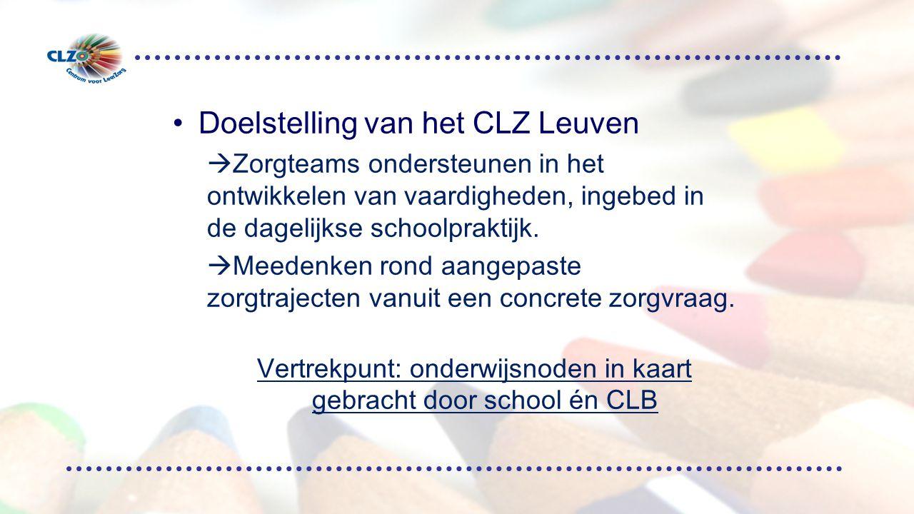 Doelstelling van het CLZ Leuven  Zorgteams ondersteunen in het ontwikkelen van vaardigheden, ingebed in de dagelijkse schoolpraktijk.