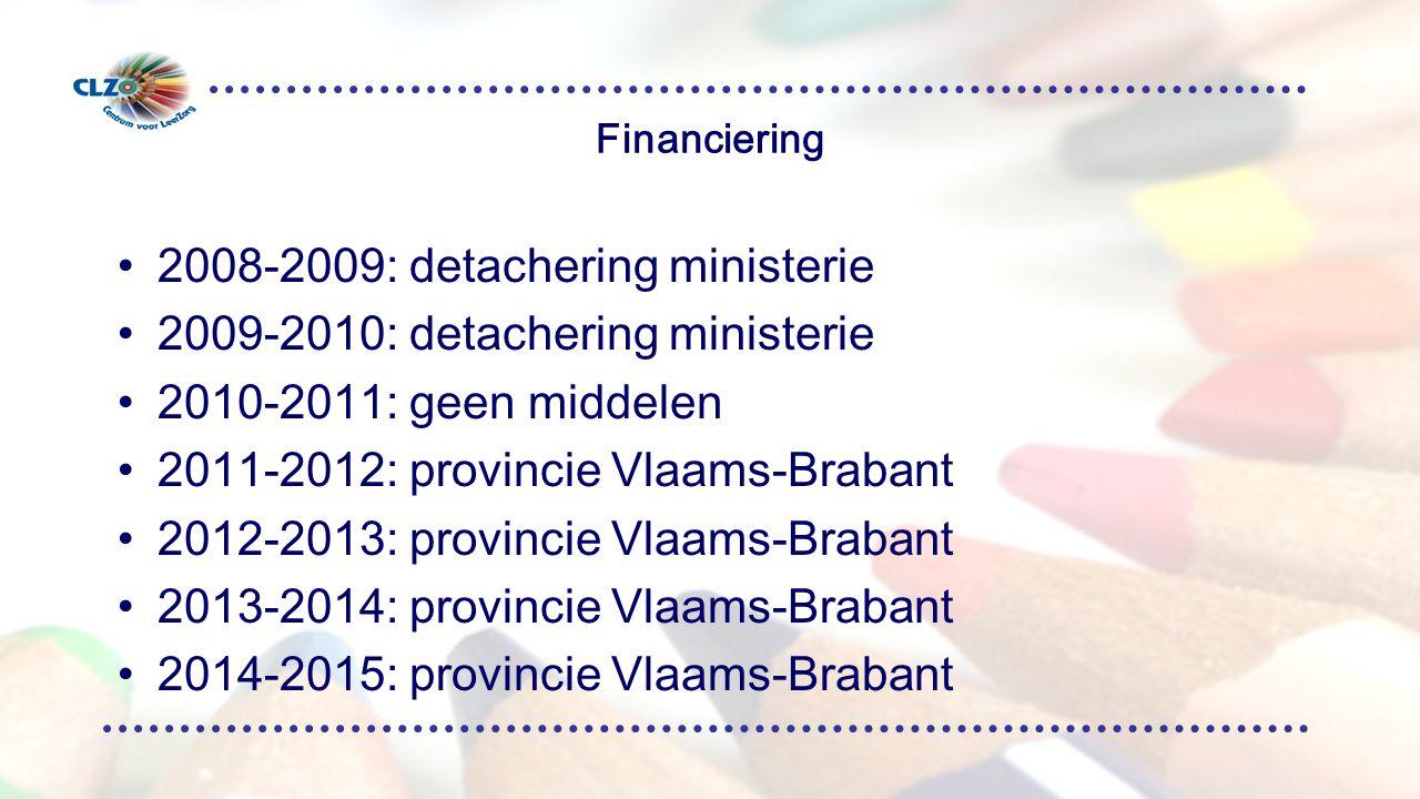 Financiering 2008-2009: detachering ministerie 2009-2010: detachering ministerie 2010-2011: geen middelen 2011-2012: provincie Vlaams-Brabant 2012-2013: provincie Vlaams-Brabant 2013-2014: provincie Vlaams-Brabant 2014-2015: provincie Vlaams-Brabant