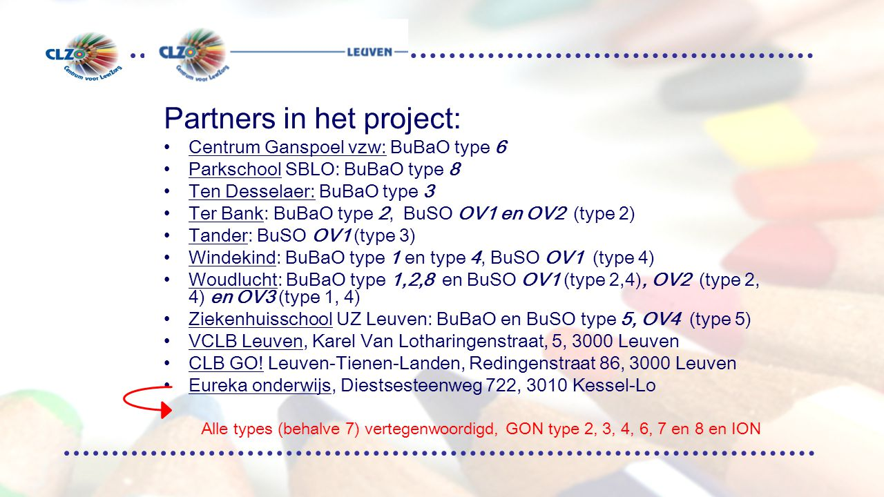 Partners in het project: Centrum Ganspoel vzw: BuBaO type 6 Parkschool SBLO: BuBaO type 8 Ten Desselaer: BuBaO type 3 Ter Bank: BuBaO type 2, BuSO OV1