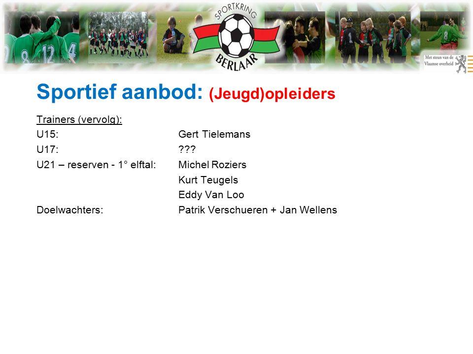 Sportief aanbod: (Jeugd)opleiders Trainers (vervolg): U15:Gert Tielemans U17: .
