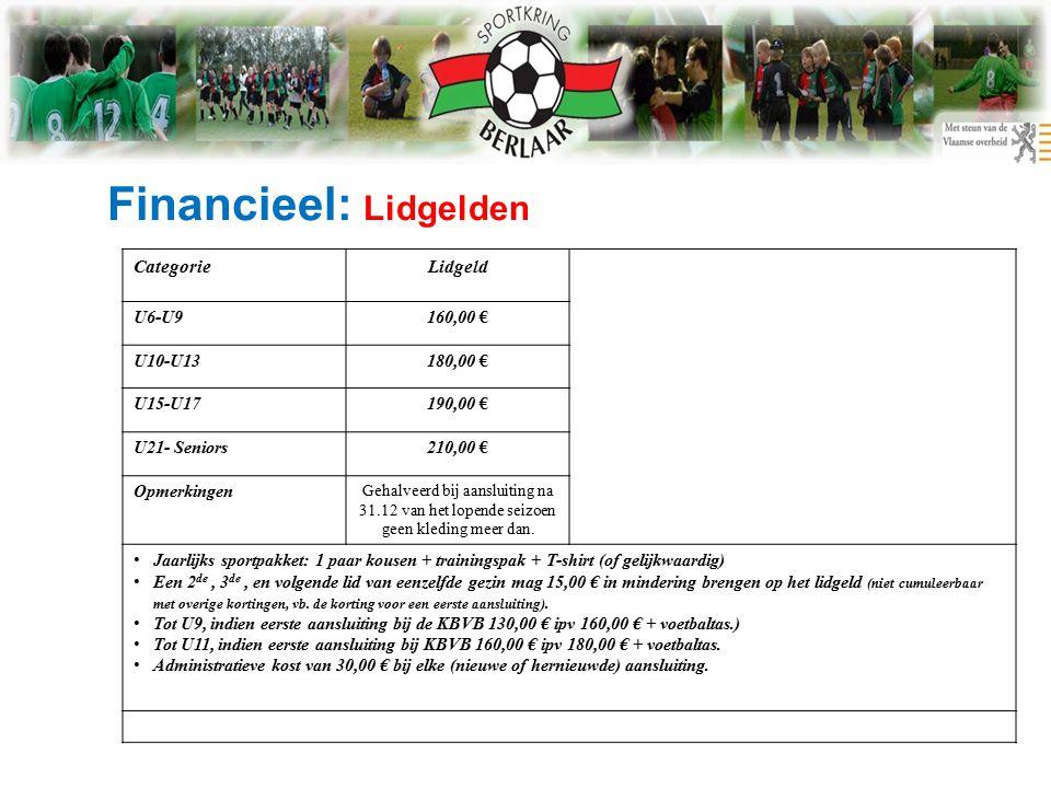 Financieel: Lidgelden CategorieLidgeld U6-U9160,00 € U10-U13180,00 € U15-U17190,00 € U21- Seniors210,00 € Opmerkingen Gehalveerd bij aansluiting na 31.12 van het lopende seizoen geen kleding meer dan.