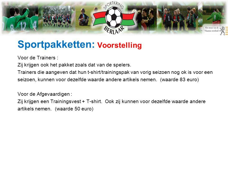 Sportpakketten: Voorstelling Voor de Trainers : Zij krijgen ook het pakket zoals dat van de spelers.