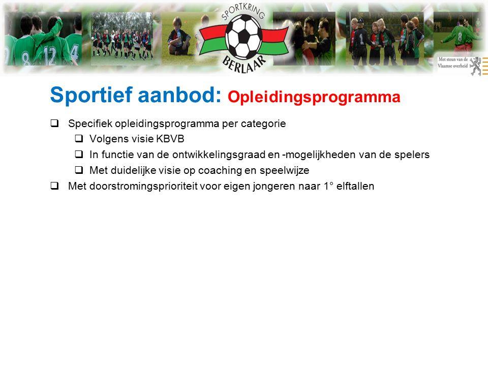 Sportief aanbod: Opleidingsprogramma  Specifiek opleidingsprogramma per categorie  Volgens visie KBVB  In functie van de ontwikkelingsgraad en -mogelijkheden van de spelers  Met duidelijke visie op coaching en speelwijze  Met doorstromingsprioriteit voor eigen jongeren naar 1° elftallen