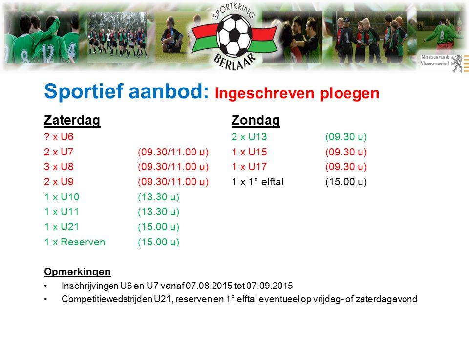 Sportief aanbod: Ingeschreven ploegen ZaterdagZondag .