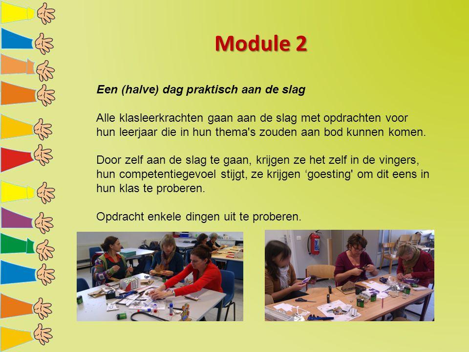 Module 2 Een (halve) dag praktisch aan de slag Alle klasleerkrachten gaan aan de slag met opdrachten voor hun leerjaar die in hun thema's zouden aan b
