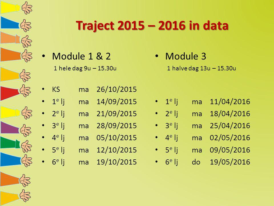 Traject 2015 – 2016 in data Module 1 & 2 1 hele dag 9u – 15.30u KS ma 26/10/2015 1 e lj ma14/09/2015 2 e lj ma21/09/2015 3 e lj ma28/09/2015 4 e lj ma05/10/2015 5 e lj ma12/10/2015 6 e lj ma19/10/2015 Module 3 1 halve dag 13u – 15.30u 1 e lj ma11/04/2016 2 e lj ma18/04/2016 3 e lj ma25/04/2016 4 e lj ma02/05/2016 5 e lj ma09/05/2016 6 e lj do19/05/2016