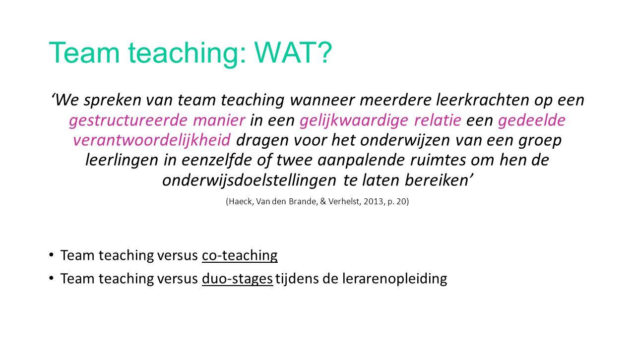 Team teaching: WAAROM.