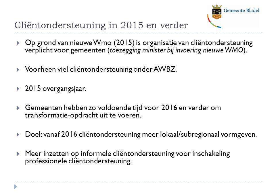 Cliëntondersteuning in 2015 en verder  Op grond van nieuwe Wmo (2015) is organisatie van cliëntondersteuning verplicht voor gemeenten (toezegging minister bij invoering nieuwe WMO).