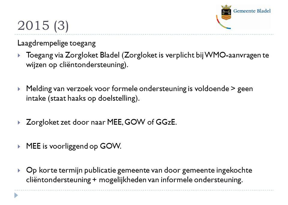 2015 (3) Laagdrempelige toegang  Toegang via Zorgloket Bladel (Zorgloket is verplicht bij WMO-aanvragen te wijzen op cliëntondersteuning).