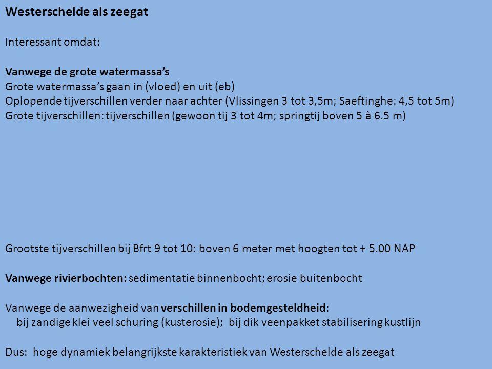 Westerschelde als zeegat Interessant omdat: Vanwege de grote watermassa's Grote watermassa's gaan in (vloed) en uit (eb) Oplopende tijverschillen verder naar achter (Vlissingen 3 tot 3,5m; Saeftinghe: 4,5 tot 5m) Grote tijverschillen: tijverschillen (gewoon tij 3 tot 4m; springtij boven 5 à 6.5 m) Grootste tijverschillen bij Bfrt 9 tot 10: boven 6 meter met hoogten tot + 5.00 NAP Vanwege rivierbochten: sedimentatie binnenbocht; erosie buitenbocht Vanwege de aanwezigheid van verschillen in bodemgesteldheid: bij zandige klei veel schuring (kusterosie); bij dik veenpakket stabilisering kustlijn Dus: hoge dynamiek belangrijkste karakteristiek van Westerschelde als zeegat