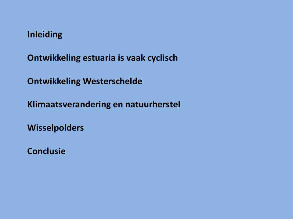 Inleiding Ontwikkeling estuaria is vaak cyclisch Ontwikkeling Westerschelde Klimaatsverandering en natuurherstel Wisselpolders Conclusie