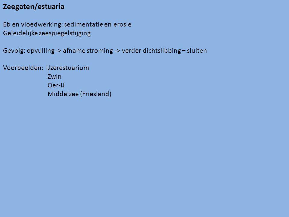 Zeegaten/estuaria Eb en vloedwerking: sedimentatie en erosie Geleidelijke zeespiegelstijging Gevolg: opvulling -> afname stroming -> verder dichtslibbing – sluiten Voorbeelden: IJzerestuarium Zwin Oer-IJ Middelzee (Friesland)