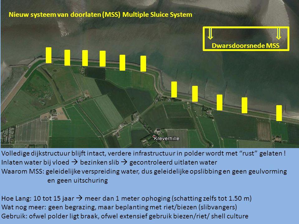 Nieuw systeem van doorlaten (MSS) Multiple Sluice System Volledige dijkstructuur blijft intact, verdere infrastructuur in polder wordt met rust gelaten .