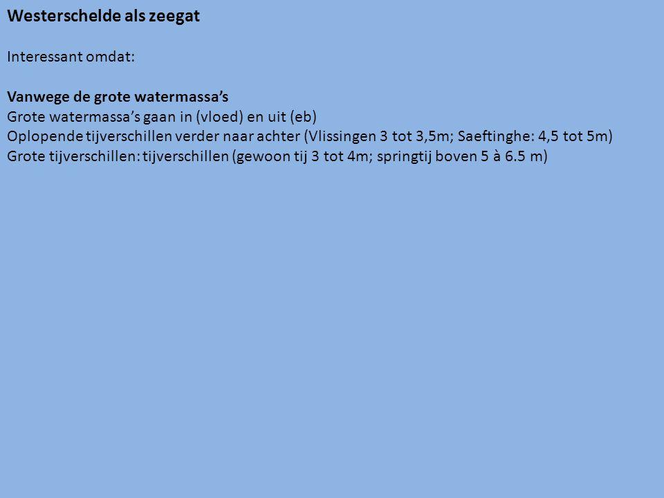 Westerschelde als zeegat Interessant omdat: Vanwege de grote watermassa's Grote watermassa's gaan in (vloed) en uit (eb) Oplopende tijverschillen verder naar achter (Vlissingen 3 tot 3,5m; Saeftinghe: 4,5 tot 5m) Grote tijverschillen: tijverschillen (gewoon tij 3 tot 4m; springtij boven 5 à 6.5 m)
