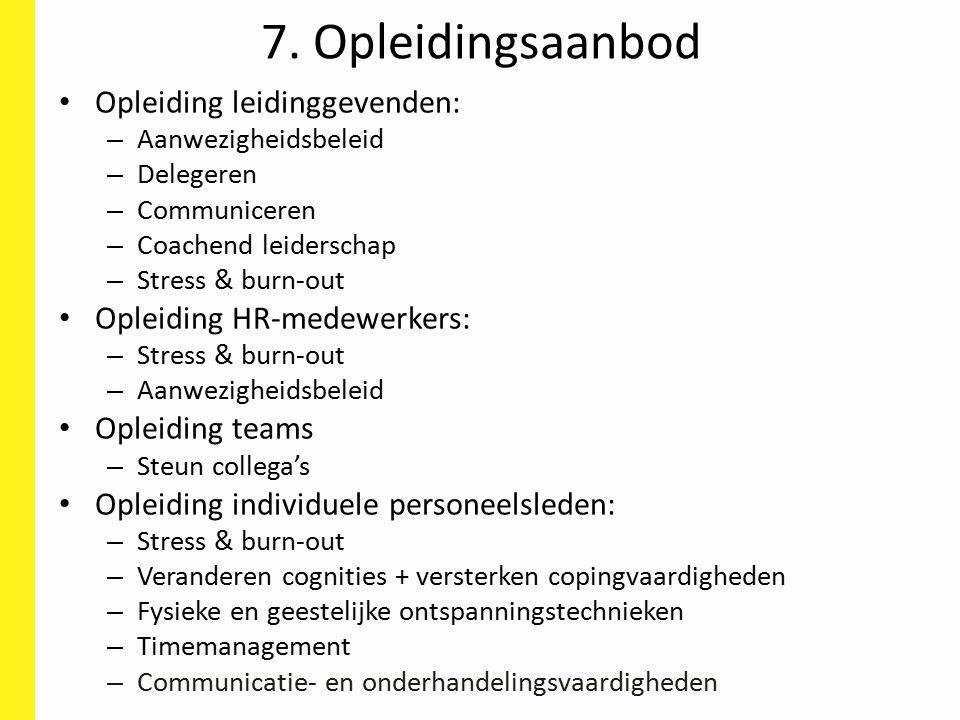 7. Opleidingsaanbod Opleiding leidinggevenden: – Aanwezigheidsbeleid – Delegeren – Communiceren – Coachend leiderschap – Stress & burn-out Opleiding H