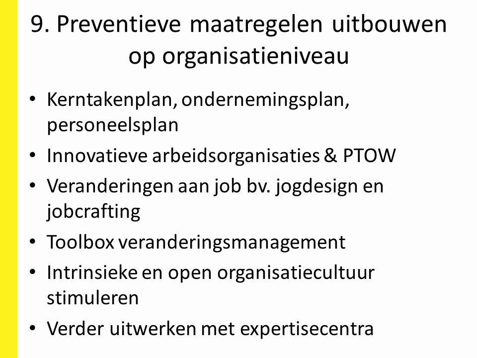 9. Preventieve maatregelen uitbouwen op organisatieniveau Kerntakenplan, ondernemingsplan, personeelsplan Innovatieve arbeidsorganisaties & PTOW Veran