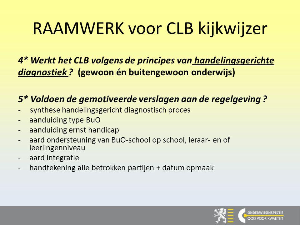 RAAMWERK voor CLB kijkwijzer 4* Werkt het CLB volgens de principes van handelingsgerichte diagnostiek .