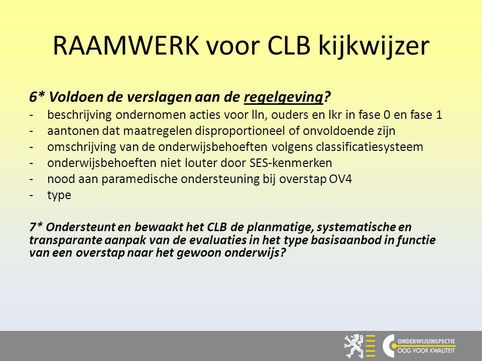RAAMWERK voor CLB kijkwijzer 6* Voldoen de verslagen aan de regelgeving.