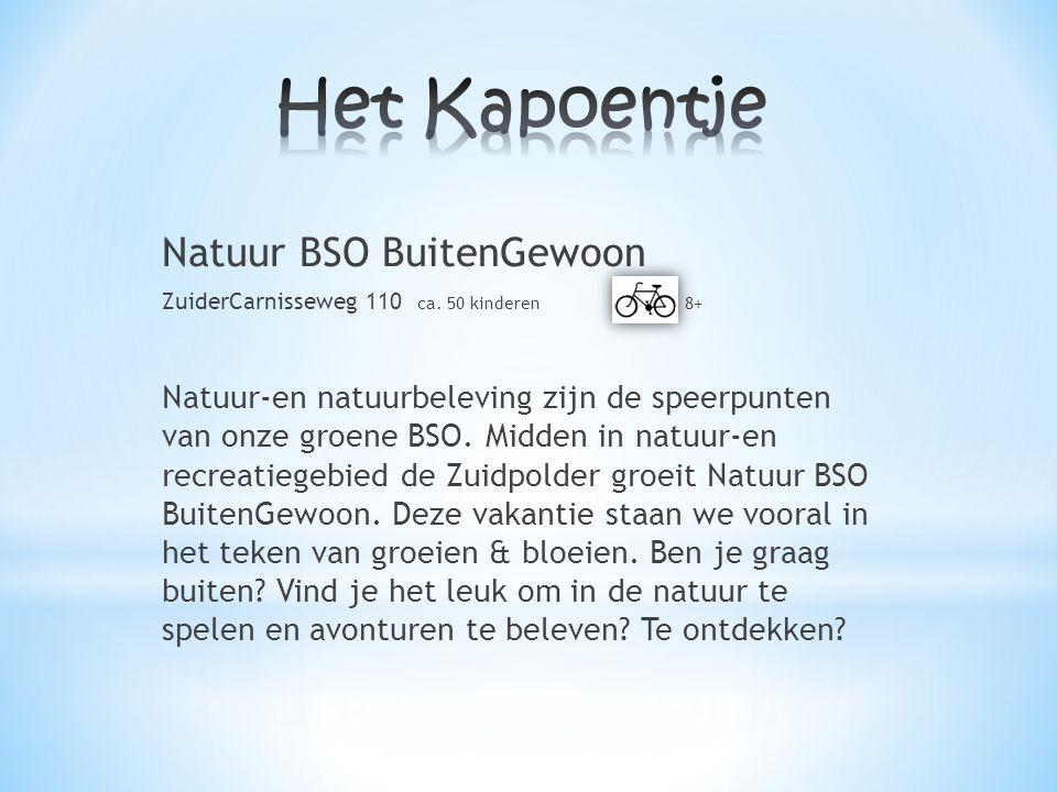 Natuur BSO BuitenGewoon ZuiderCarnisseweg 110 ca. 50 kinderen 8+ Natuur-en natuurbeleving zijn de speerpunten van onze groene BSO. Midden in natuur-en