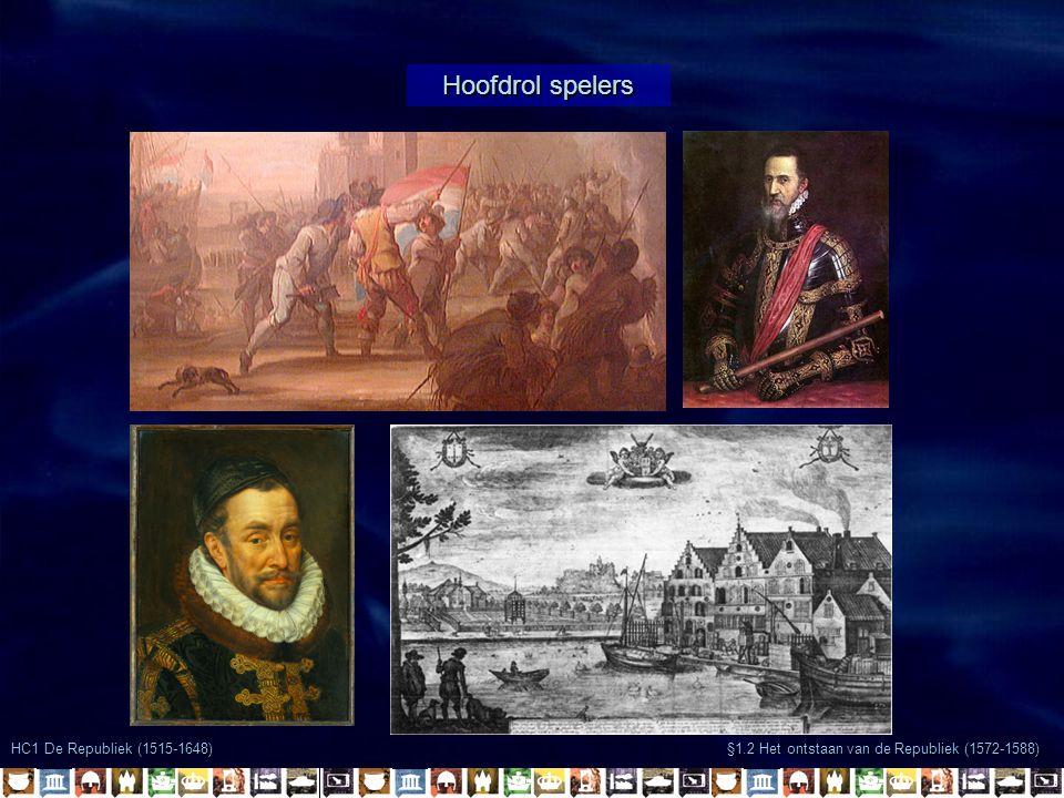 Hoofdrol spelers §1.2 Het ontstaan van de Republiek (1572-1588) HC1 De Republiek (1515-1648)