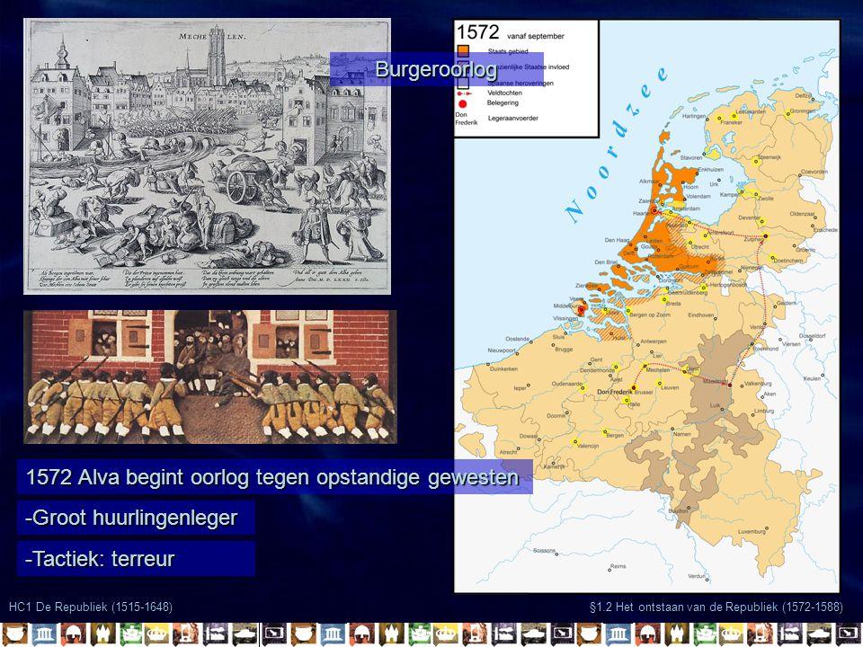 HC1 De Republiek (1515-1648) §1.2 Het ontstaan van de Republiek (1572-1588) 1572 Alva begint oorlog tegen opstandige gewesten -Groot huurlingenleger -Tactiek: terreur Burgeroorlog