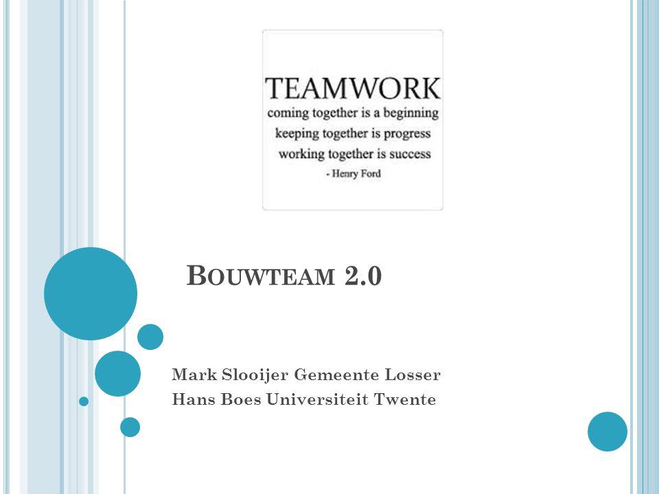 P ROGRAMMA Kader Ervaringen vanuit afgeronde projecten Bouwteam Losser Bouwteam 2.0: Vanaf scratch