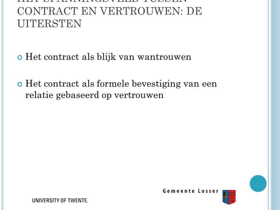 HET SPANNINGSVELD TUSSEN CONTRACT EN VERTROUWEN: DE UITERSTEN Het contract als blijk van wantrouwen Het contract als formele bevestiging van een relat