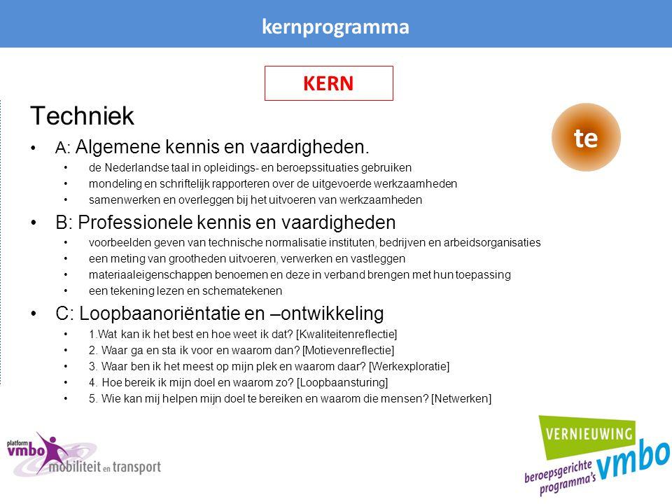 kernprogramma Techniek A: Algemene kennis en vaardigheden. de Nederlandse taal in opleidings- en beroepssituaties gebruiken mondeling en schriftelijk