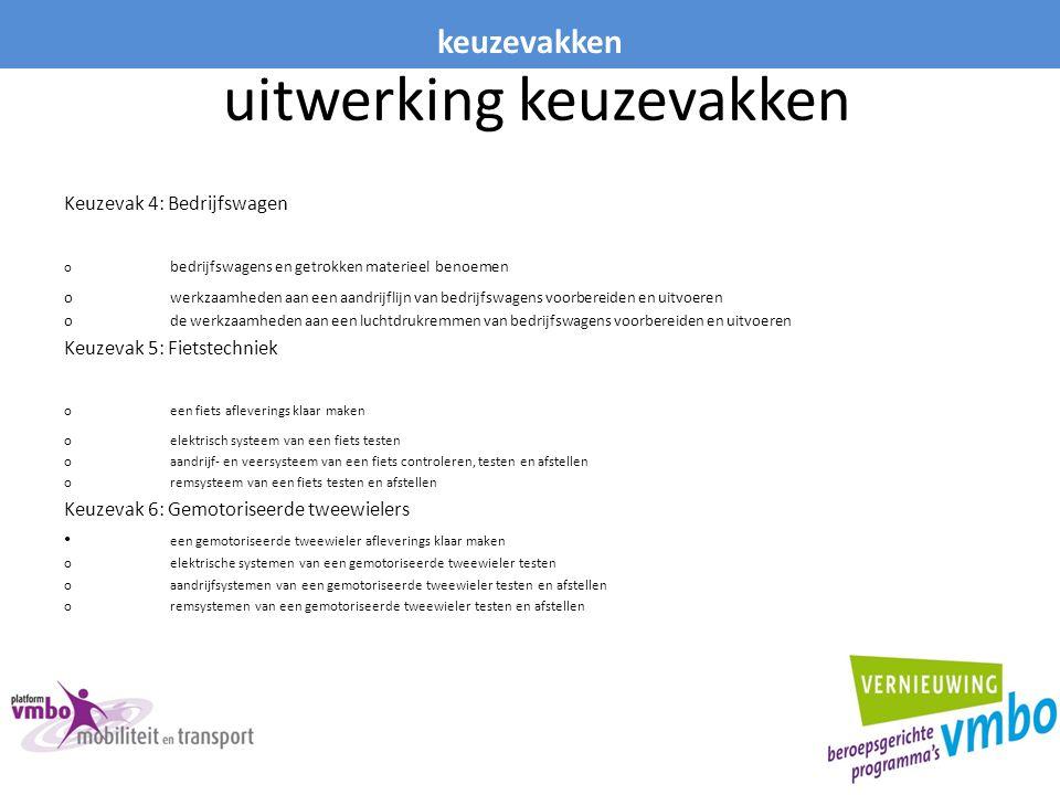 uitwerking keuzevakken Keuzevak 4: Bedrijfswagen o bedrijfswagens en getrokken materieel benoemen owerkzaamheden aan een aandrijflijn van bedrijfswage