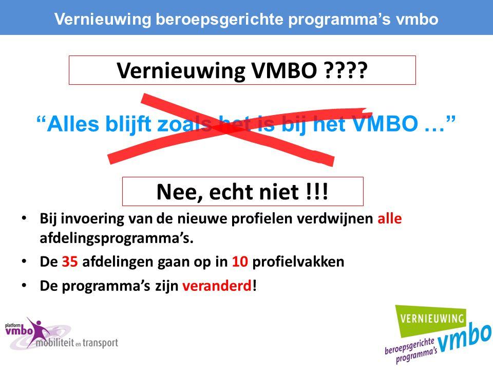 Vernieuwing VMBO ???? Bij invoering van de nieuwe profielen verdwijnen alle afdelingsprogramma's. De 35 afdelingen gaan op in 10 profielvakken De prog