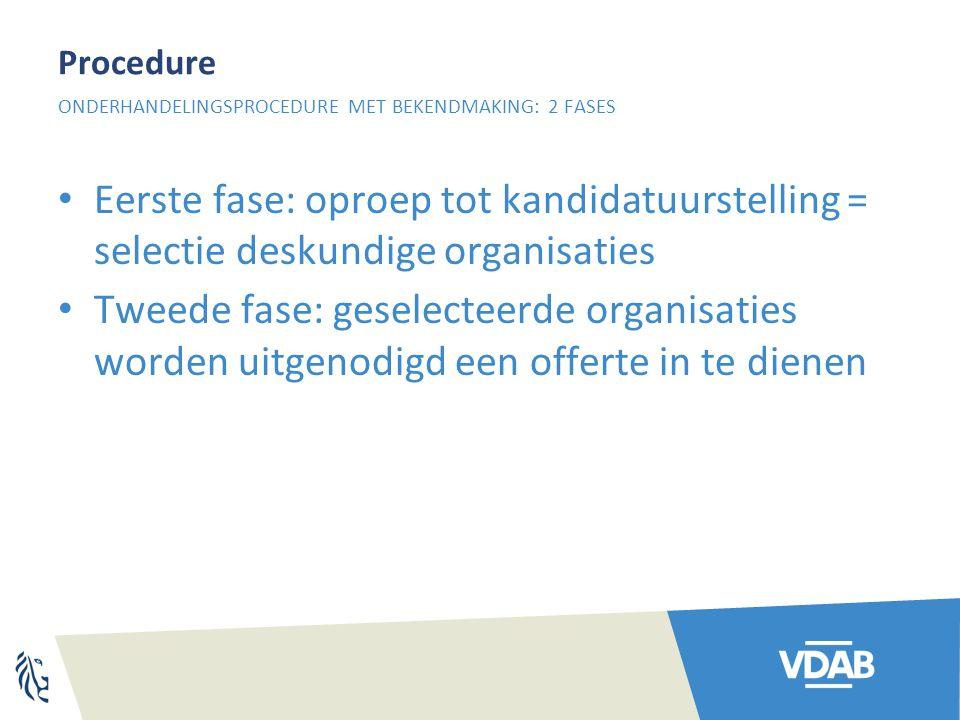 Procedure Eerste fase: oproep tot kandidatuurstelling = selectie deskundige organisaties Tweede fase: geselecteerde organisaties worden uitgenodigd ee