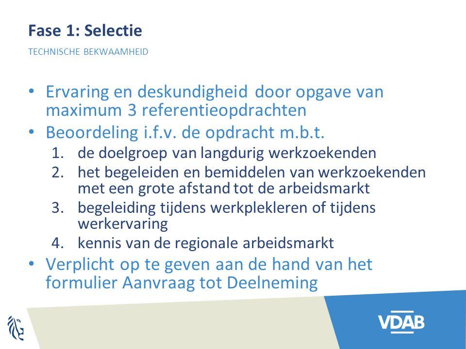 Fase 1: Selectie Ervaring en deskundigheid door opgave van maximum 3 referentieopdrachten Beoordeling i.f.v.