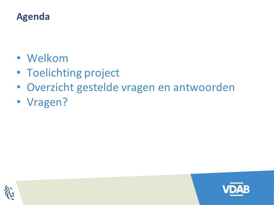 Agenda Welkom Toelichting project Overzicht gestelde vragen en antwoorden Vragen?