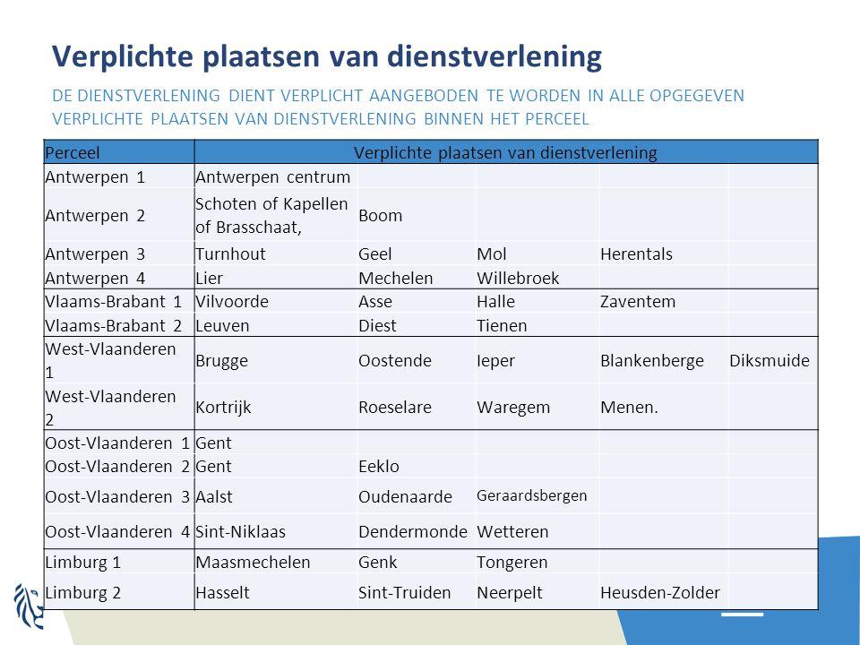 Verplichte plaatsen van dienstverlening PerceelVerplichte plaatsen van dienstverlening Antwerpen 1Antwerpen centrum Antwerpen 2 Schoten of Kapellen of