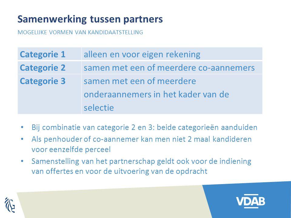Samenwerking tussen partners Categorie 1alleen en voor eigen rekening Categorie 2samen met een of meerdere co-aannemers Categorie 3samen met een of me