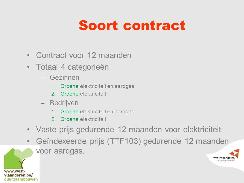 Soort contract Contract voor 12 maanden Totaal 4 categorieën –Gezinnen 1.Groene elektriciteit en aardgas 2.Groene elektriciteit –Bedrijven 1.Groene elektriciteit en aardgas 2.Groene elektriciteit Vaste prijs gedurende 12 maanden voor elektriciteit Geïndexeerde prijs (TTF103) gedurende 12 maanden voor aardgas.