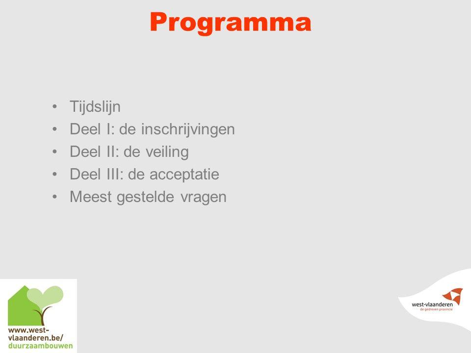 Programma Tijdslijn Deel I: de inschrijvingen Deel II: de veiling Deel III: de acceptatie Meest gestelde vragen