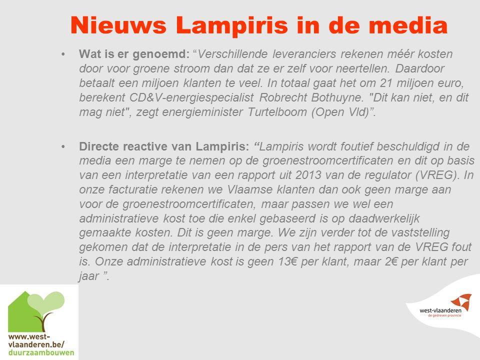 Nieuws Lampiris in de media Wat is er genoemd: Verschillende leveranciers rekenen méér kosten door voor groene stroom dan dat ze er zelf voor neertellen.