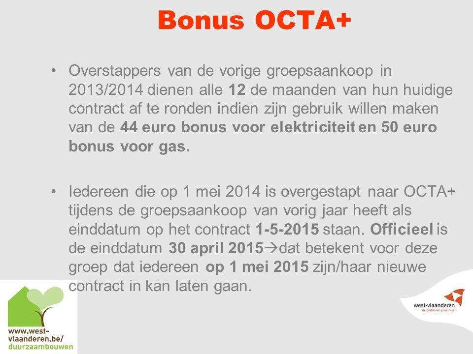 Bonus OCTA+ Overstappers van de vorige groepsaankoop in 2013/2014 dienen alle 12 de maanden van hun huidige contract af te ronden indien zijn gebruik willen maken van de 44 euro bonus voor elektriciteit en 50 euro bonus voor gas.