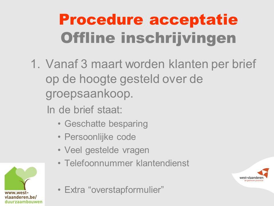 Procedure acceptatie Offline inschrijvingen 1.Vanaf 3 maart worden klanten per brief op de hoogte gesteld over de groepsaankoop.