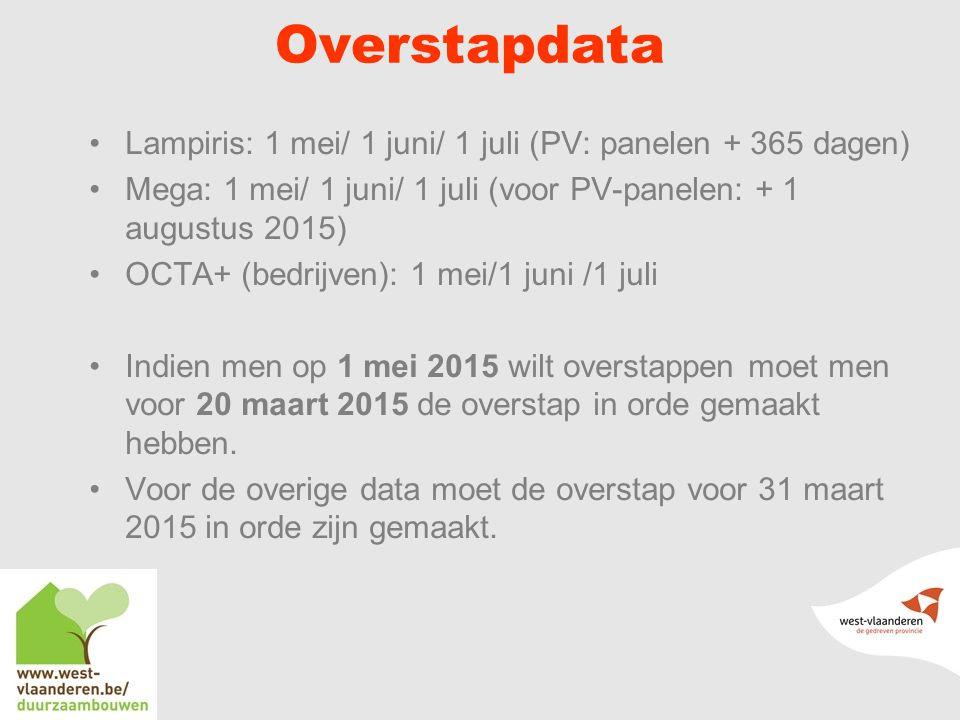 Overstapdata Lampiris: 1 mei/ 1 juni/ 1 juli (PV: panelen + 365 dagen) Mega: 1 mei/ 1 juni/ 1 juli (voor PV-panelen: + 1 augustus 2015) OCTA+ (bedrijven): 1 mei/1 juni /1 juli Indien men op 1 mei 2015 wilt overstappen moet men voor 20 maart 2015 de overstap in orde gemaakt hebben.