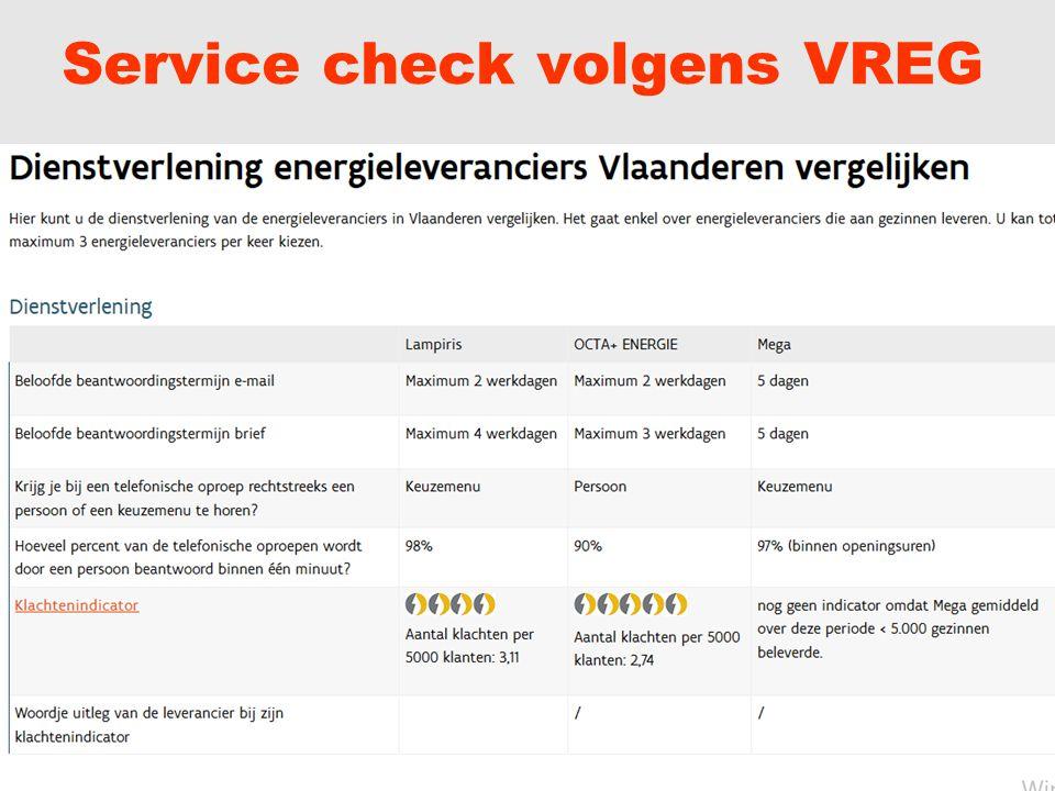 Service check volgens VREG