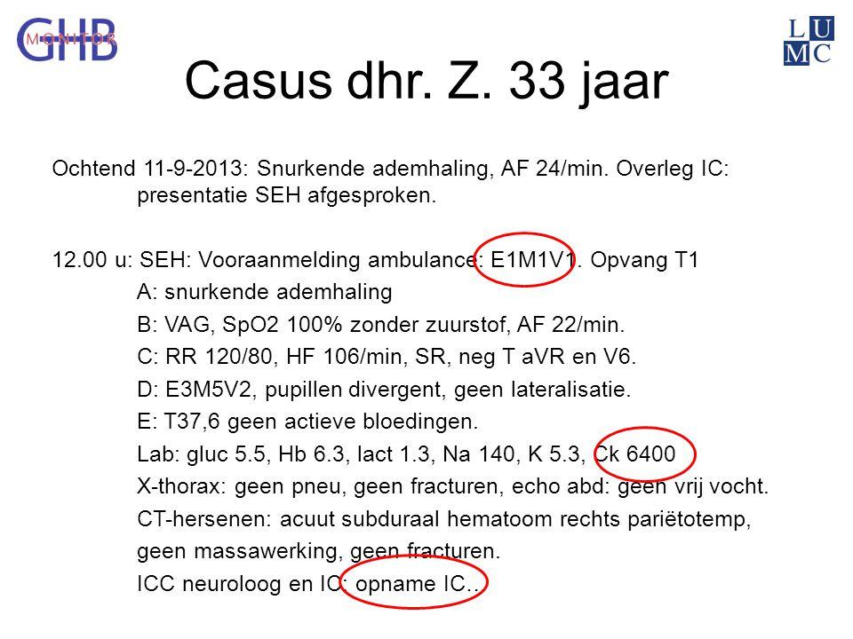 Casus dhr. Z. 33 jaar Ochtend 11-9-2013: Snurkende ademhaling, AF 24/min. Overleg IC: presentatie SEH afgesproken. 12.00 u: SEH: Vooraanmelding ambula