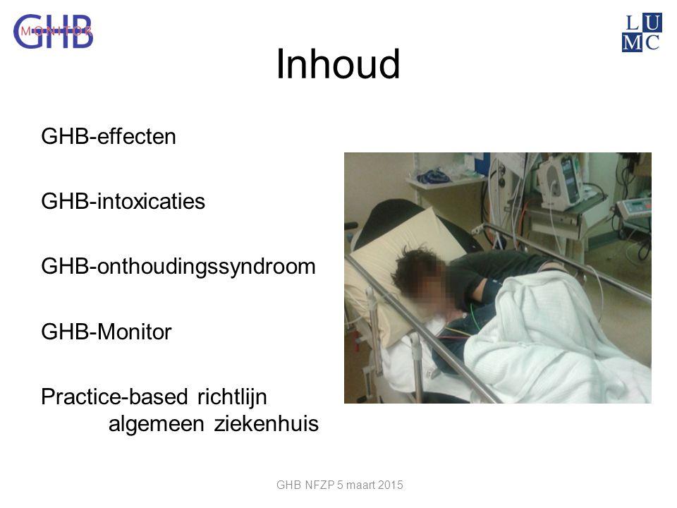 Inhoud GHB-effecten GHB-intoxicaties GHB-onthoudingssyndroom GHB-Monitor Practice-based richtlijn algemeen ziekenhuis GHB NFZP 5 maart 2015