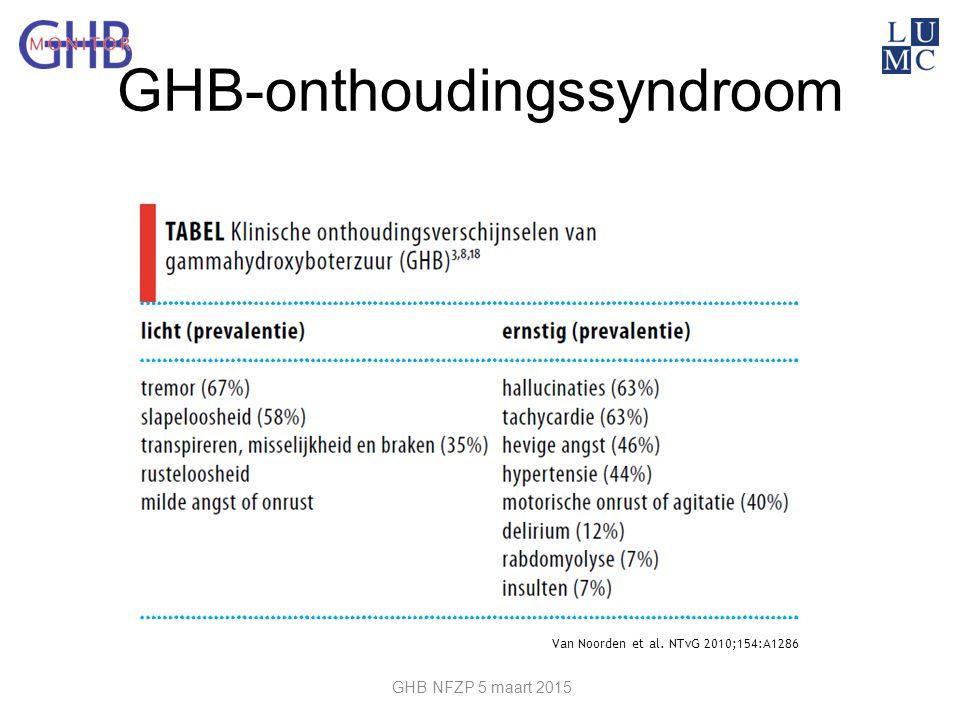 GHB-onthoudingssyndroom Van Noorden et al. NTvG 2010;154:A1286 GHB NFZP 5 maart 2015