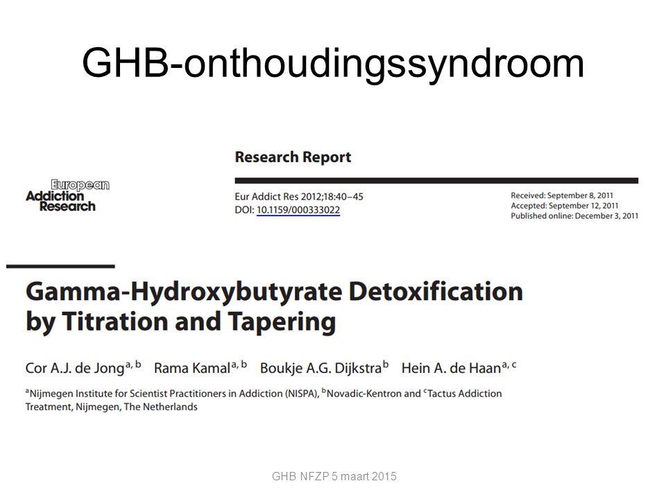 GHB-onthoudingssyndroom GHB NFZP 5 maart 2015